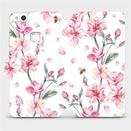 Flipové pouzdro Mobiwear na mobil Huawei P10 Lite - M124S Růžové květy