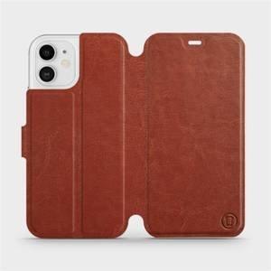 Flipové pouzdro Mobiwear na mobil Apple iPhone 12 v provedení C_BRP Brown&Orange s oranžovým vnitřkem