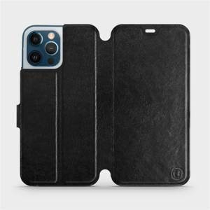 Flipové pouzdro Mobiwear na mobil Apple iPhone 12 Pro Max v provedení C_BLP Black&Orange s oranžovým vnitřkem