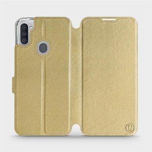 Flipové pouzdro Mobiwear na mobil Samsung Galaxy M11 v provedení C_GOP Gold&Orange s oranžovým vnitřkem