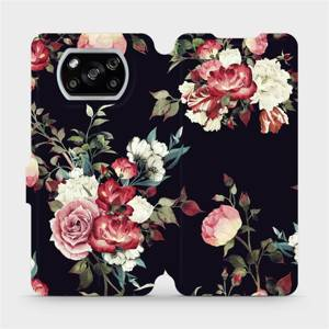 Parádní flip pouzdro Mobiwear na mobil Xiaomi POCO X3 NFC - VD11P Růže na černé