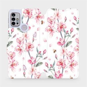 Flipové pouzdro Mobiwear na mobil Motorola Moto G10 - M124S Růžové květy