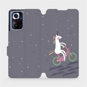 Flipové pouzdro Mobiwear na mobil Xiaomi Redmi Note 10 Pro - V024P Jednorožec na kole