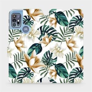 Flipové pouzdro Mobiwear na mobil Motorola Moto G20 - MC07P Zlatavé květy a zelené listy