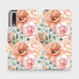 Flip pouzdro Mobiwear na mobil Huawei P20 - MP02S Pastelové květy