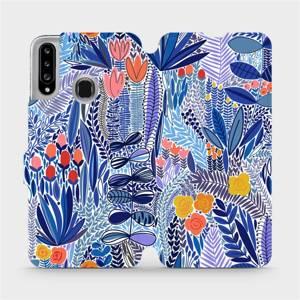 Flip pouzdro Mobiwear na mobil Samsung Galaxy A20S - MP03P Modrá květena