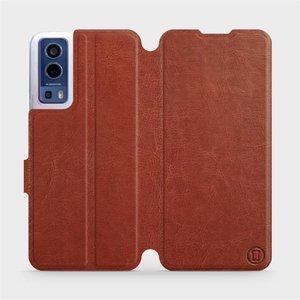 Flip pouzdro Mobiwear na mobil Vivo Y72 5G / Vivo Y52 5G v provedení C_BRP Brown&Orange s oranžovým vnitřkem