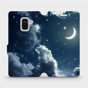 Flipové pouzdro Mobiwear na mobil Samsung Galaxy A8 2018 - V145P Noční obloha s měsícem
