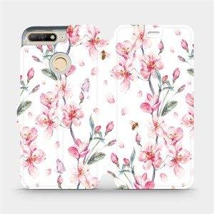 Flipové pouzdro Mobiwear na mobil Huawei Y6 Prime 2018 - M124S Růžové květy