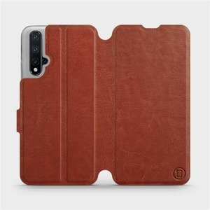 Flipové pouzdro Mobiwear na mobil Honor 20 v provedení C_BRP Brown&Orange s oranžovým vnitřkem