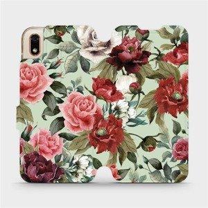 Flipové pouzdro Mobiwear na mobil Huawei Y5 2019 - MD06P Růže a květy na světle zeleném pozadí