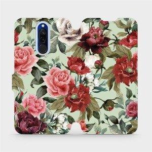 Flipové pouzdro Mobiwear na mobil Xiaomi Redmi 8 - MD06P Růže a květy na světle zeleném pozadí