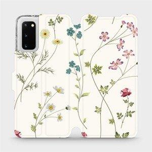 Flipové pouzdro Mobiwear na mobil Samsung Galaxy S20 - MD03S Tenké rostlinky s květy