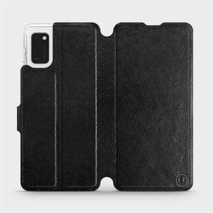 Flipové pouzdro Mobiwear na mobil Samsung Galaxy A41 v provedení C_BLS Black&Gray s šedým vnitřkem