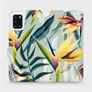 Flipové pouzdro Mobiwear na mobil Samsung Galaxy A31 - MC02S Žluté velké květy a zelené listy
