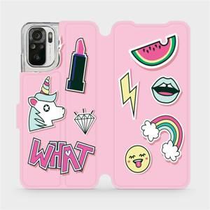 Flipové pouzdro Mobiwear na mobil Xiaomi Redmi Note 10 - M129S Růžové WHAT
