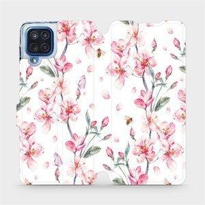 Flipové pouzdro Mobiwear na mobil Samsung Galaxy M12 - M124S Růžové květy
