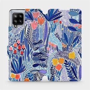 Flip pouzdro Mobiwear na mobil Samsung Galaxy A42 5G - MP03P Modrá květena