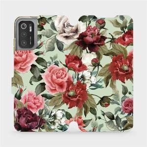 Flip pouzdro Mobiwear na mobil Xiaomi Poco M3 Pro 5G - MD06P Růže a květy na světle zeleném pozadí