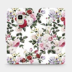 Flipové pouzdro Mobiwear na mobil Samsung Galaxy J6 2018 - MD01S Růže na bílé