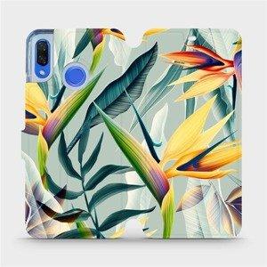 Flipové pouzdro Mobiwear na mobil Huawei Nova 3 - MC02S Žluté velké květy a zelené listy