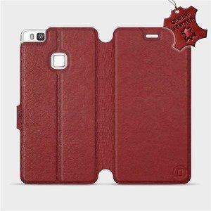 Luxusní flip pouzdro Mobiwear na mobil Huawei P9 Lite - Tmavě červené - kožené -  L_DRS Dark Red Leather  - výprodej