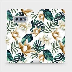 Flipové pouzdro Mobiwear na mobil Samsung Galaxy S10e - MC07P Zlatavé květy a zelené listy