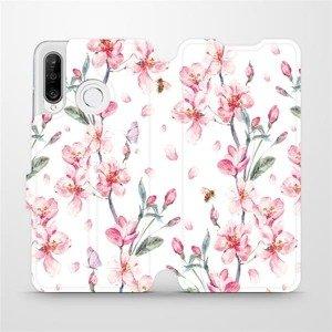 Flipové pouzdro Mobiwear na mobil Huawei P30 Lite - M124S Růžové květy