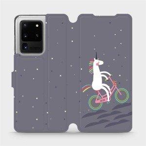 Flipové pouzdro Mobiwear na mobil Samsung Galaxy S20 Ultra - V024P Jednorožec na kole