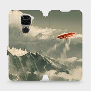 Flipové pouzdro Mobiwear na mobil Xiaomi Redmi Note 9 - MA03P Oranžové letadlo v horách