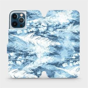 Flipové pouzdro Mobiwear na mobil Apple iPhone 12 Pro Max - M058S Světle modrá horizontální pírka