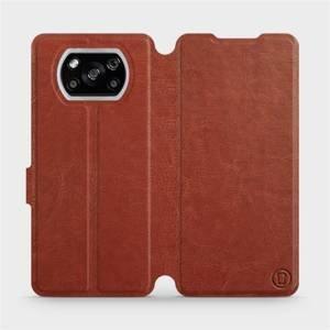 Flipové pouzdro Mobiwear na mobil Xiaomi POCO X3 NFC v provedení C_BRP Brown&Orange s oranžovým vnitřkem