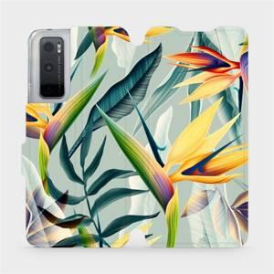 Flipové pouzdro Mobiwear na mobil Vivo Y70 - MC02S Žluté velké květy a zelené listy
