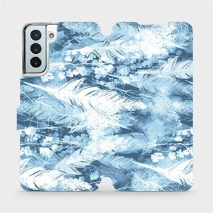 Flipové pouzdro Mobiwear na mobil Samsung Galaxy S21 Plus 5G - M058S Světle modrá horizontální pírka