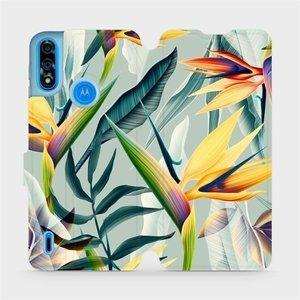Flipové pouzdro Mobiwear na mobil Motorola Moto E7i Power - MC02S Žluté velké květy a zelené listy
