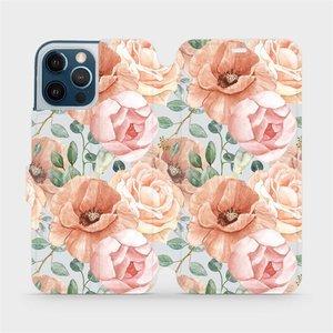 Flip pouzdro Mobiwear na mobil Apple iPhone 12 Pro Max - MP02S Pastelové květy