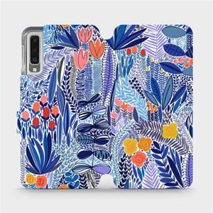 Flip pouzdro Mobiwear na mobil Samsung Galaxy A7 2018 - MP03P Modrá květena