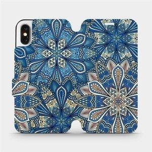 Flipové pouzdro Mobiwear na mobil Apple iPhone X - V108P Modré mandala květy