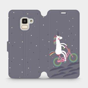 Flipové pouzdro Mobiwear na mobil Samsung Galaxy J6 2018 - V024P Jednorožec na kole