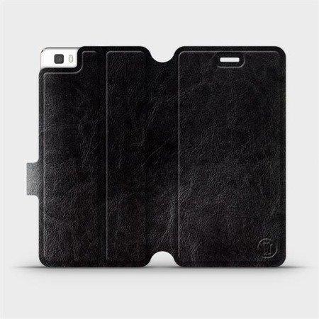 Parádní flip pouzdro Mobiwear na mobil Huawei P8 Lite v provedení C_BLS Black&Gray s šedým vnitřkem
