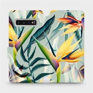 Flipové pouzdro Mobiwear na mobil Samsung Galaxy S10 - MC02S Žluté velké květy a zelené listy