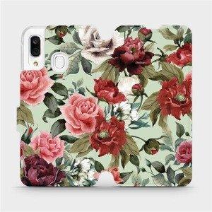 Flipové pouzdro Mobiwear na mobil Samsung Galaxy A40 - MD06P Růže a květy na světle zeleném pozadí