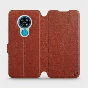 Flipové pouzdro Mobiwear na mobil Nokia 7.2 v provedení C_BRP Brown&Orange s oranžovým vnitřkem