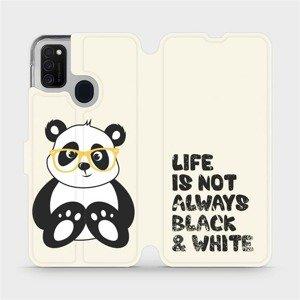 Flipové pouzdro Mobiwear na mobil Samsung Galaxy M21 - M041S Panda - life is not always black and white