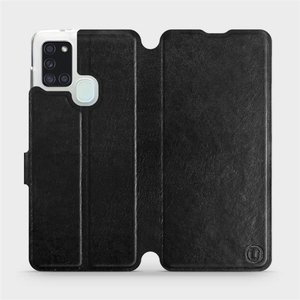 Flipové pouzdro Mobiwear na mobil Samsung Galaxy A21S v provedení C_BLS Black&Gray s šedým vnitřkem