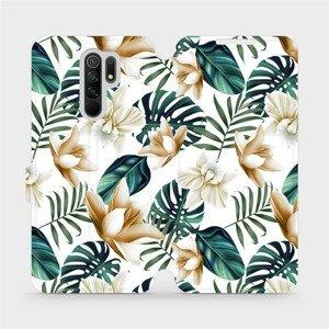 Flipové pouzdro Mobiwear na mobil Xiaomi Redmi 9 - MC07P Zlatavé květy a zelené listy