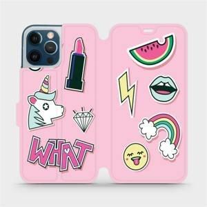 Flipové pouzdro Mobiwear na mobil Apple iPhone 12 Pro Max - M129S Růžové WHAT