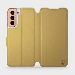 Flipové pouzdro Mobiwear na mobil Samsung Galaxy S21 5G v provedení C_GOP Gold&Orange s oranžovým vnitřkem