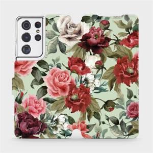 Flipové pouzdro Mobiwear na mobil Samsung Galaxy S21 Ultra 5G - MD06P Růže a květy na světle zeleném pozadí