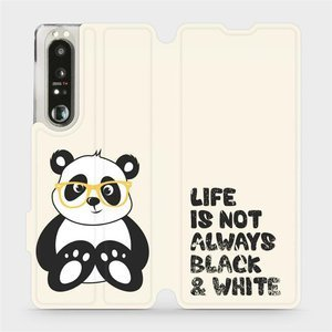 Flip pouzdro Mobiwear na mobil Sony Xperia 1 III - M041S Panda - life is not always black and white
